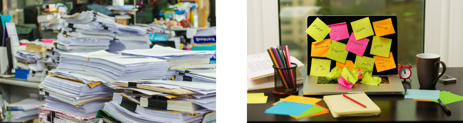 Clean desk policy - Piles of files + Post-Its 400x1500